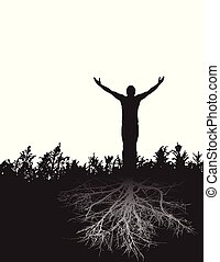 A peaceful figure stands firmly rooted in gratitude.