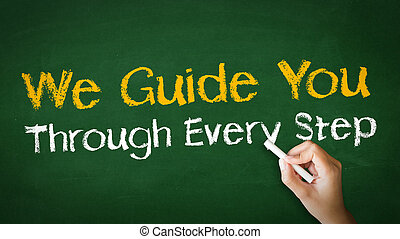 A person drawing and pointing at a We guide you through every step Chalk Illustration