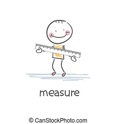 A person with a ruler. Illustration.