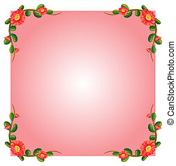 A pink empty border template with flowers