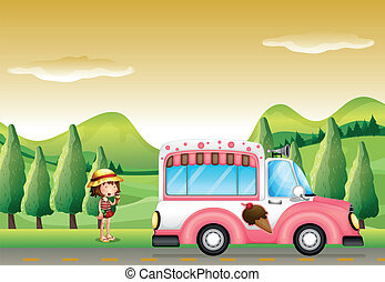 Illustration of a pink ice cream bus and the little girl
