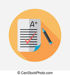 A plus grade in the notebook, flat icon with long shadow, eps10