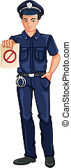 Illustration of a police officer on a white background
