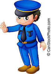 Illustration of a police officer with a complete blue inform on a white background