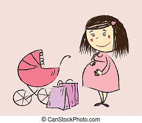 A pregnant woman goes shopping