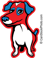 A red and blue cartoon Jack Russell Terrier dog.