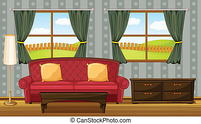 A red sofa and side table