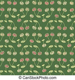 seamless vector doodle pattern with pink cherries on green background