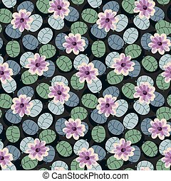 seamless vector pattern with pink flowers and muted green leaves on a dark background