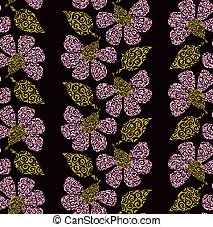 seamless vector pattern with vertical stripes of decorative pink flowers and green leaves on a dark background