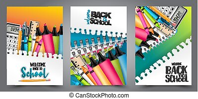 A set of back to school flyers with realistic 3d stationery and items for education. - calculator, highlighers, crayons, copybooks. Text on a torn out sheet of paper. Vector illustration.