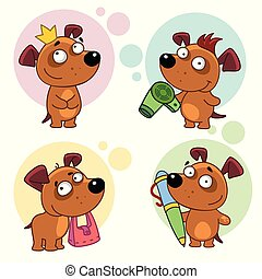 A set of cute dog icons for children and design, a dog princess with a crown, with a hairdryer dries her hair, holds a bag in her teeth, Worth writing with a pen.