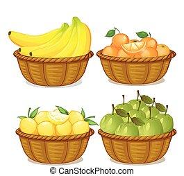 A set of fruit in basket