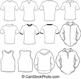 a set of male shirts template