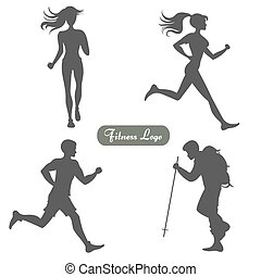 A set of silhouettes of people walking and running
