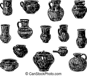 A set of sketches of clayware