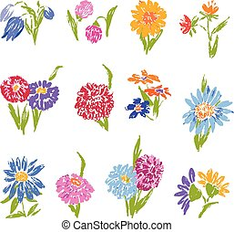 A set of sketches of different flowers
