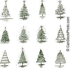 A set of sketches of various christmas trees