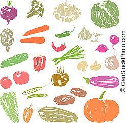 A set of sketches of various ripe vegetables