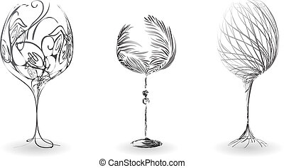 A set of stylized outline of wine glasses