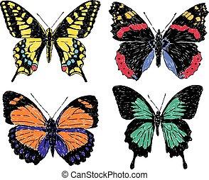 A set of various butterflies sketches