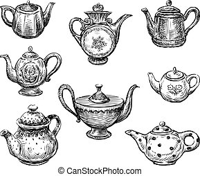 A set of various teapots sketches