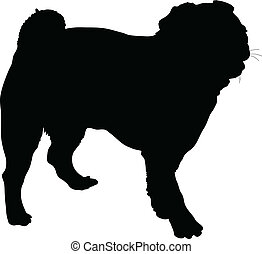 A silhouette portrait, in profile, of a standing Pug dog.