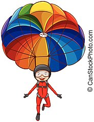 Illustration of a simple sketch of a girl with a parachute on a white background