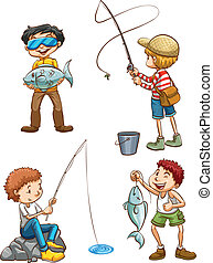 Illustration of a sketch of men fishing on a white background