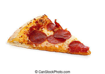 A slice of Pepperonli pizza on a white background