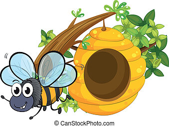 A small bee near the beehive