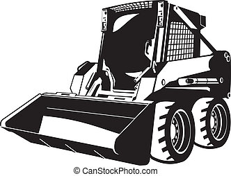 A small skid loader. black and white illustration
