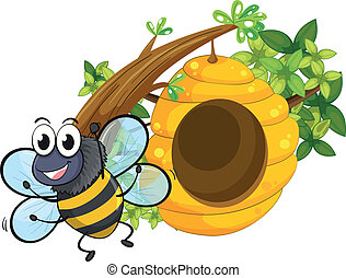 A smiling bee near the big beehive