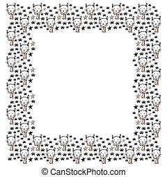 A square frame of lynx faces with pink cheeks and a mustache on the muzzle and a pink scarf around the neck, traces of paws and stars. White background. Template for text in scandinavian style. Vector