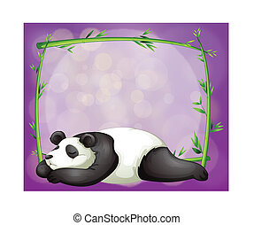 A stationery with a bamboo frame and a panda