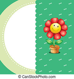 Illustration of a stationery with a smiling flower