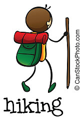 Illustration of a stickman hiking on a white background