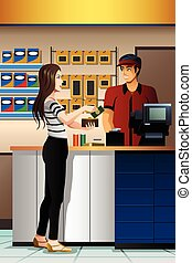 A vector illustration of beautiful Woman Paying the Cashier at the Store