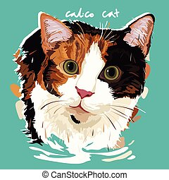A vector illustration of Calico Cat Painting Poster