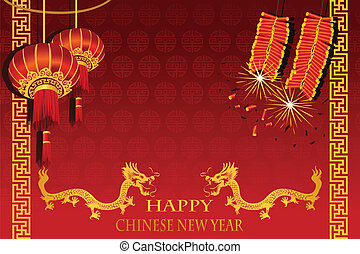 A vector illustration of Chinese New Year (the year of Dragon) greeting card
