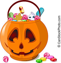 A vector illustration of Jack O' Lantern bag full of Halloween treats.