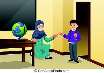 Muslim Kid and Teacher in a Classroom