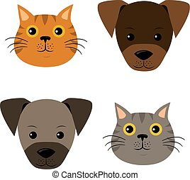 A vector set of dog, cat faces in flat style.