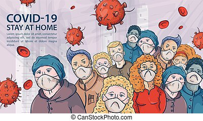 a very large crowd of people in medical masks among the covind coronavirus molecules and the red virus 2019-nCoV Inscription warning contour illustration