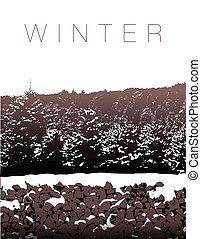 A winter landscape in sepia tones