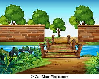 A wooden bridge in the park