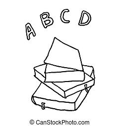 ABC school books. Monochrome sketch, hand drawing. Black outline on white background. Vector illustration
