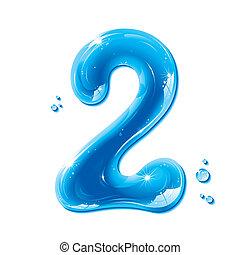 Liquid Alphabet Gel Series on white background, Number Two, editable vector illustration