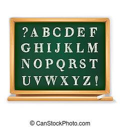 abc set written on blackboard