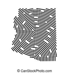 abstract Arizona map filled with fingerprint pattern- vector illustration